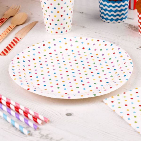 Carnival Multi Coloured Paper Plates - Dots (8)